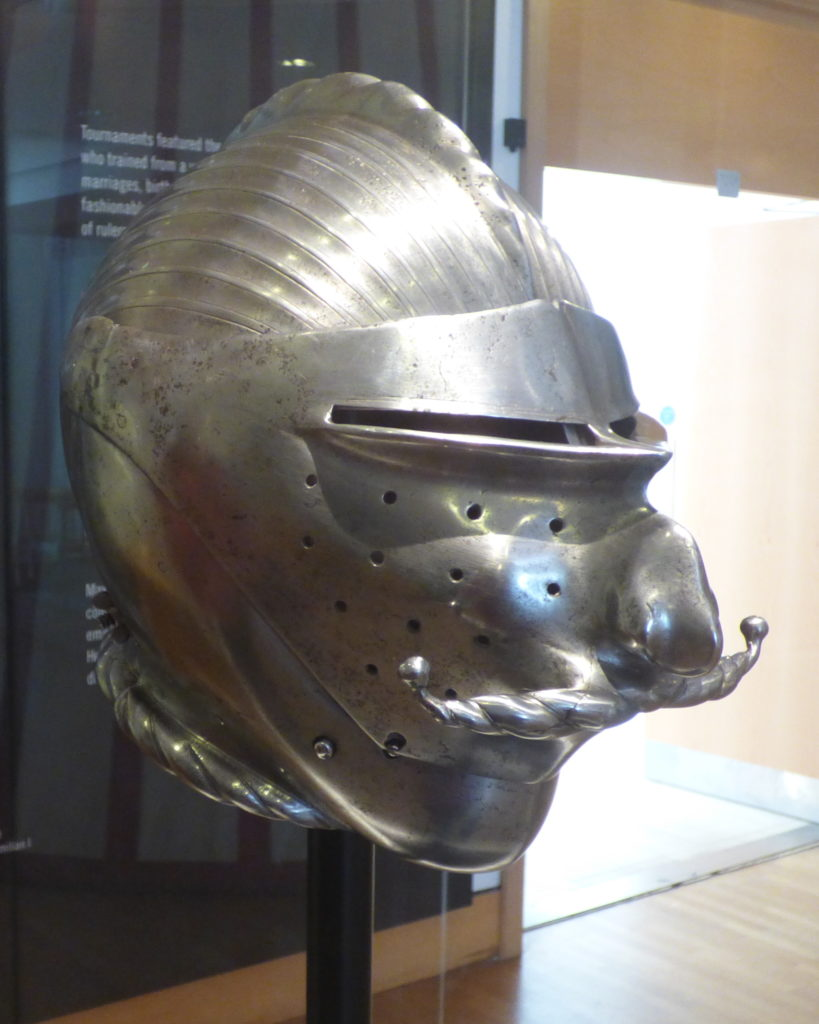 Helmet with a mustache