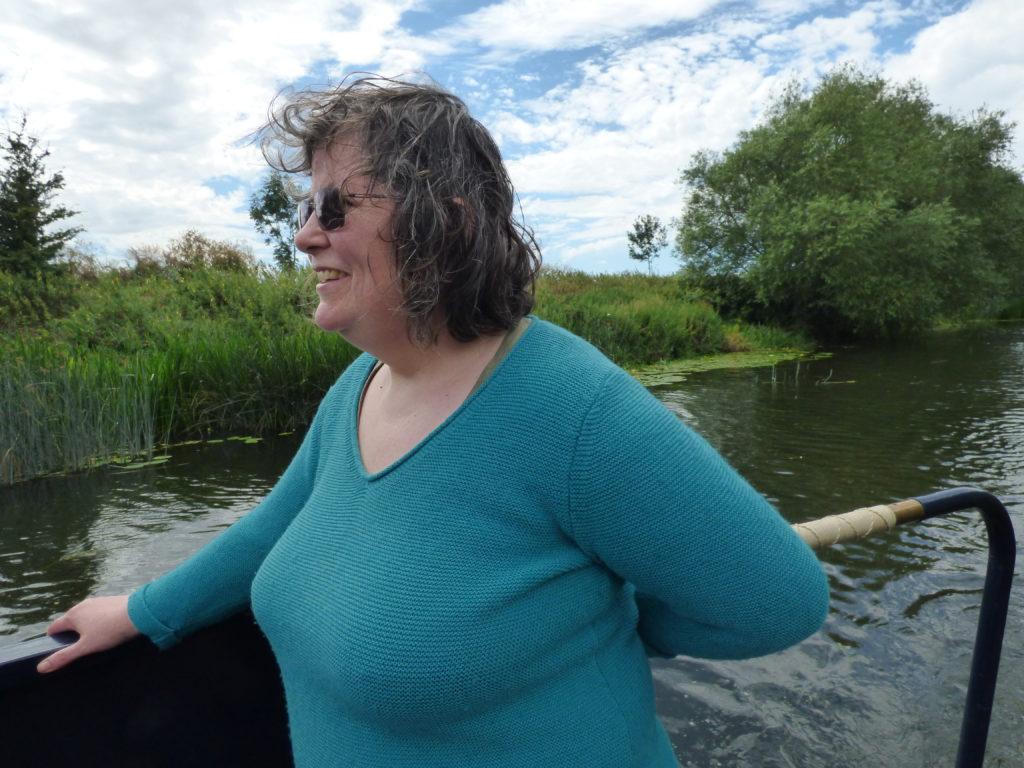 Margaret at the tiller